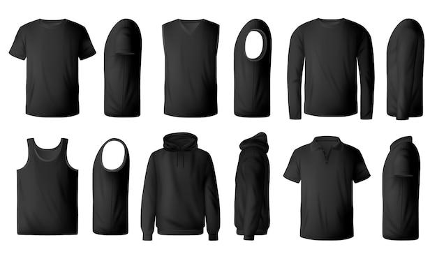 Мужская черная футболка, пуловер и реалистичная толстовка с капюшоном Premium векторы