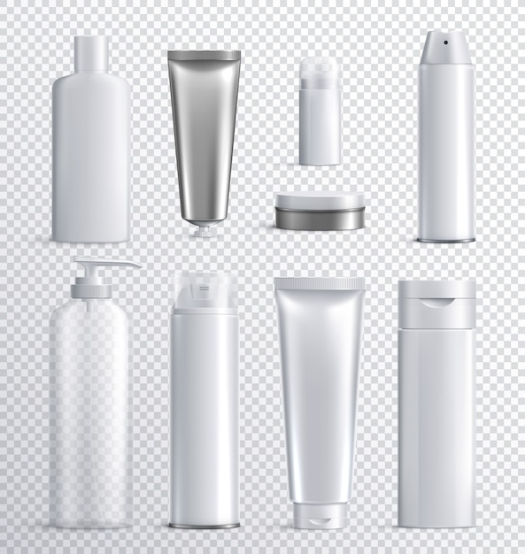 Mens cosmetics bottles transparent realistic icon set with transparent background for liquid spray shampoo or skincare  illustration Free Vector
