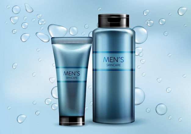 Mens cosmetics products line 3d realistic vector advertising mockup. skincare cream, shampoo, shaving foam or lotion plastic tube, glass bottle illustrations on gradient background with water bubbles Free Vector