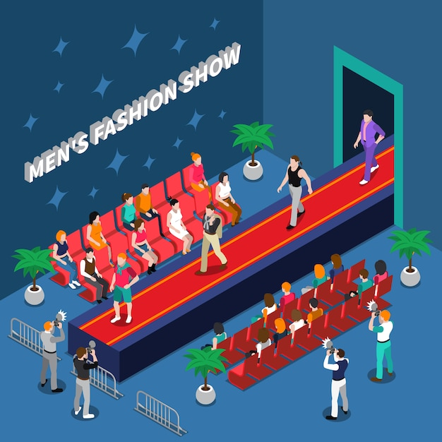 Mens fashion show isometric illustration Free Vector