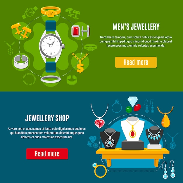 Mens jewelry horizontal banners Free Vector