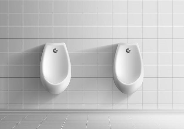 Mens public toilet room 3d realistic vector mockup Free Vector