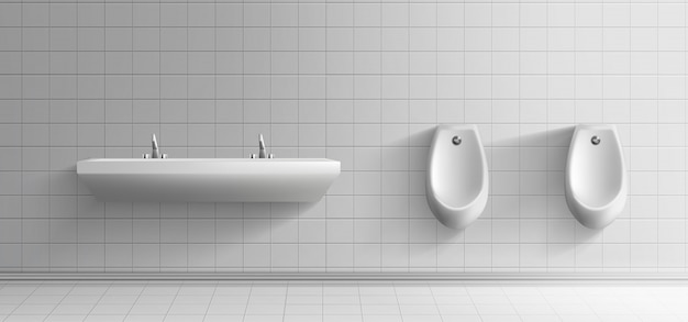 Mens public toilet room minimalist interior Free Vector