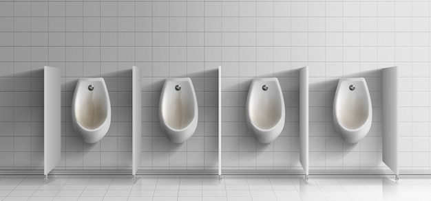 Mens public toilet room realistic. row of dirty, rusty ceramic urinals with metal flushing buttons on white tiled wall Free Vector