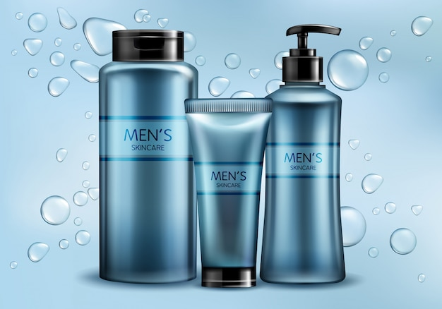 Mens skincare cosmetics line 3d realistic vector advertising mockup. Free Vector