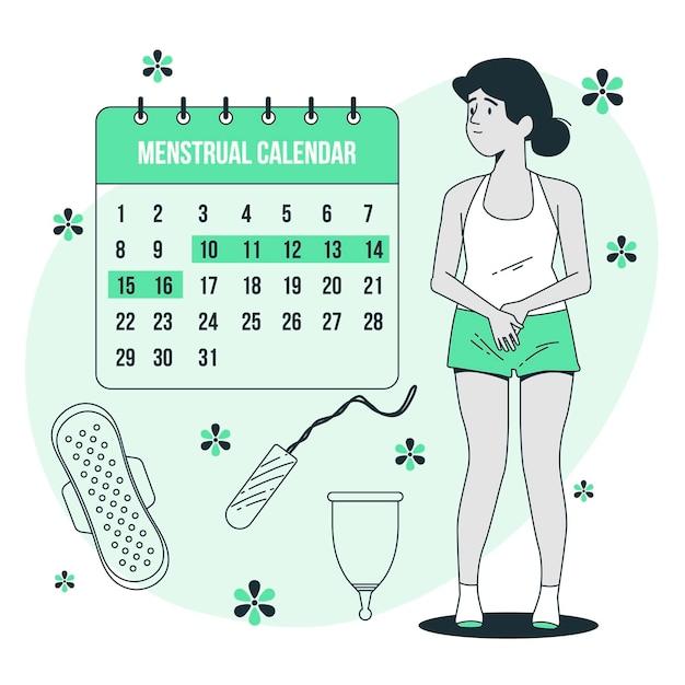 月経カレンダーの概念図 無料ベクター