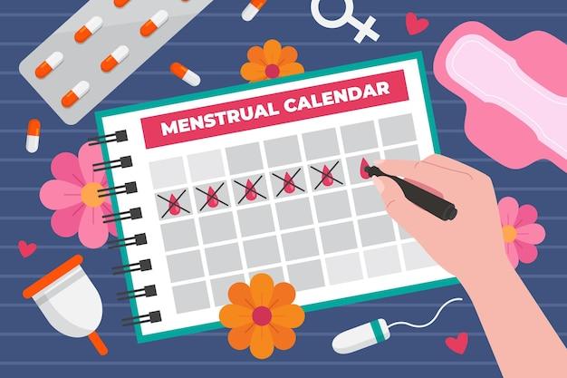 Иллюстрация концепции менструального календаря Бесплатные векторы