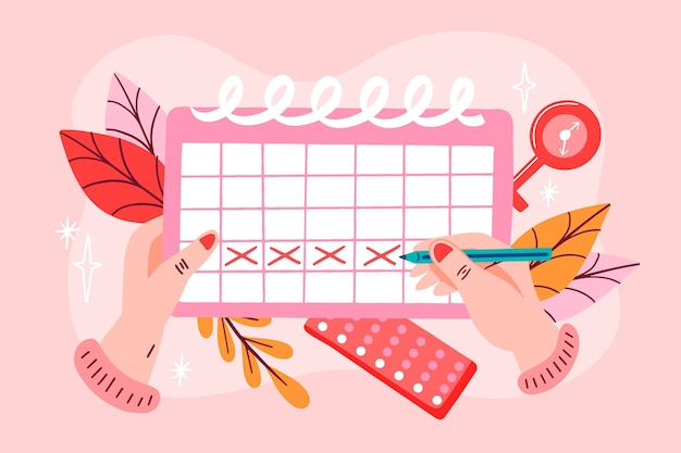 Menstrual calendar concept illustration Free Vector