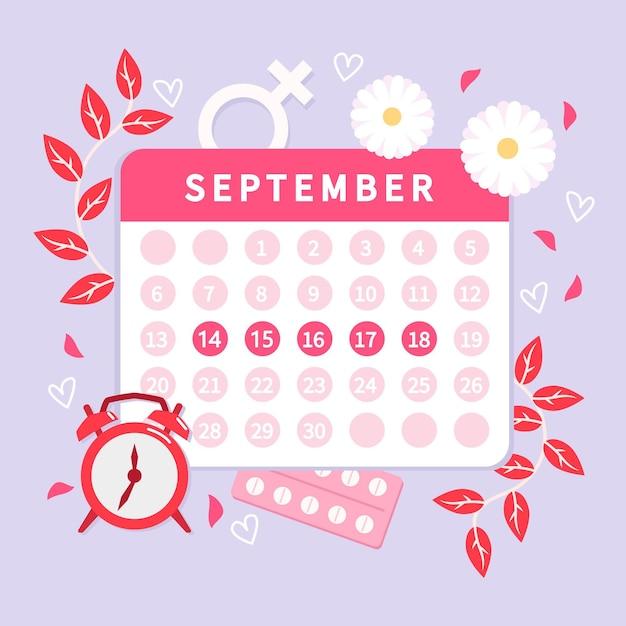 Стиль концепции менструального календаря Бесплатные векторы