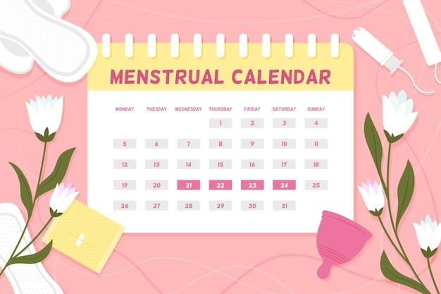 花と月経カレンダーのコンセプト 無料ベクター