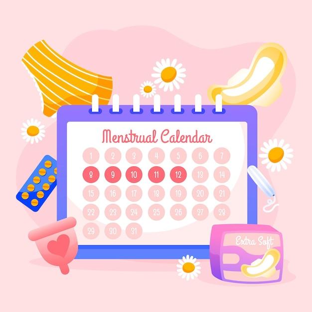 Концепция менструального календаря с продуктами Бесплатные векторы