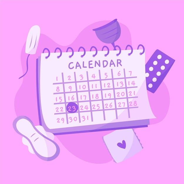 Menstrual calendar concept Free Vector