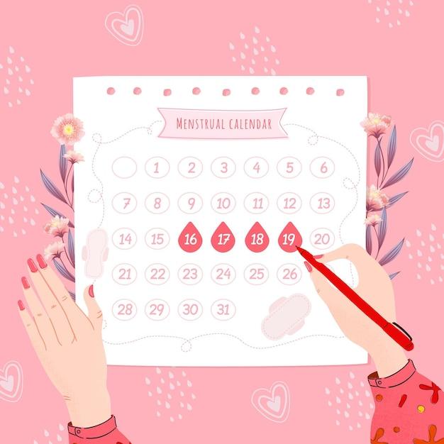 月経カレンダーのコンセプト 無料ベクター