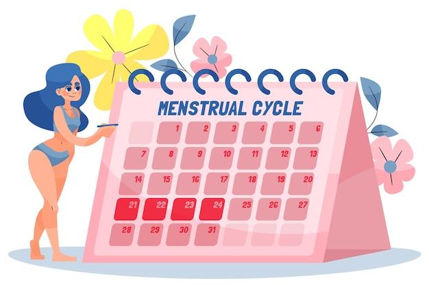 Менструальный календарь с женщиной Бесплатные векторы