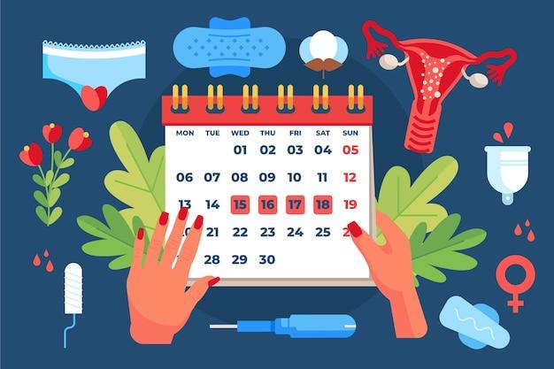 Иллюстрированный менструальный календарь Бесплатные векторы
