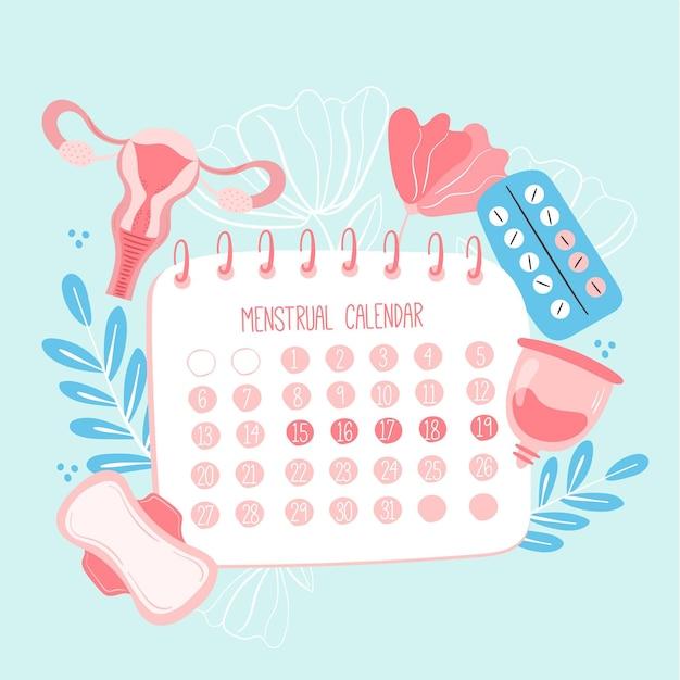 Менструальный календарь с элементами здоровья женщины Бесплатные векторы