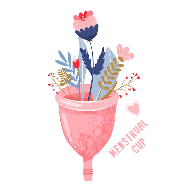 Menstrual cup with flowers. eco protection Premium Vector