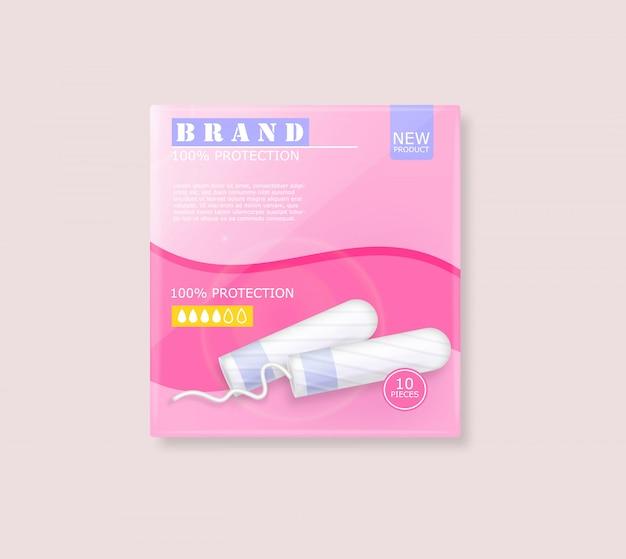 Рекламный пакет гигиенических тампонов менструального цикла с местом для бренда Premium векторы
