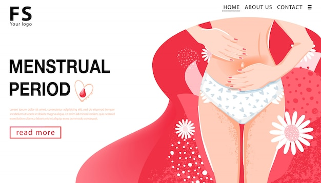 Menstrual period. landing page template. woman having abdominal pain. woman's health concept with woman body, groin of female and flowers. vector illustration. Premium Vector