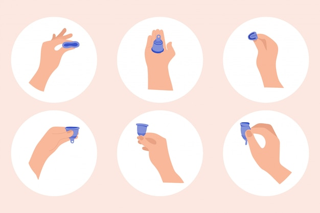 Premium Vector | Menstrual period use cup to collecting blood. menstrual cup  hygiene device used in feminine menstruation period. infographic  instruction.