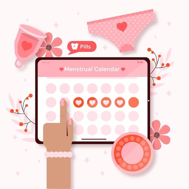 Концепция календаря менструации Бесплатные векторы