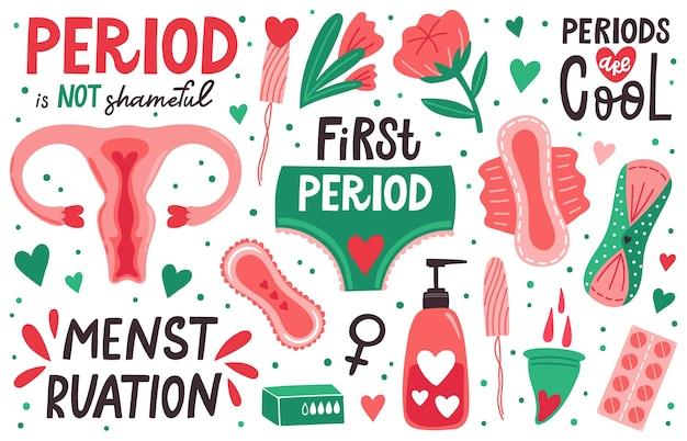 Иллюстрация гигиены менструации Premium векторы