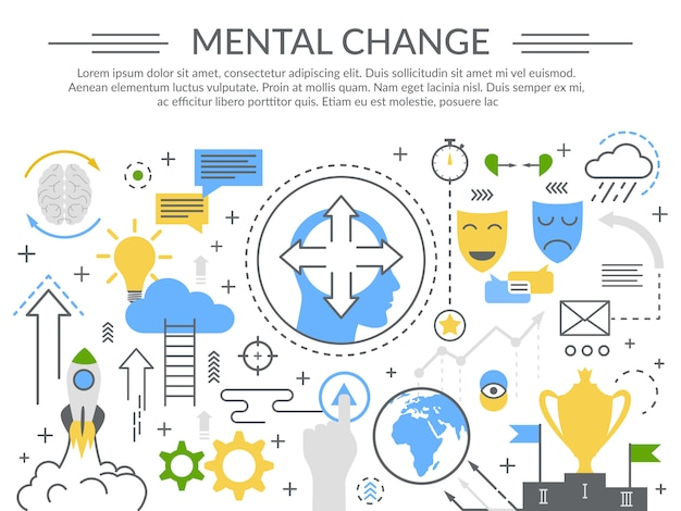 Mental change concept flat composition Free Vector