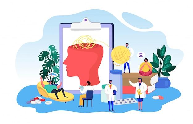 精神疾患の心理学、漫画の患者と一緒に働く小さな医師の人々、白の脳の健康をチェック Premiumベクター