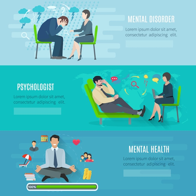 Mental disorder psychological treatment with principles of regaining balance Free Vector