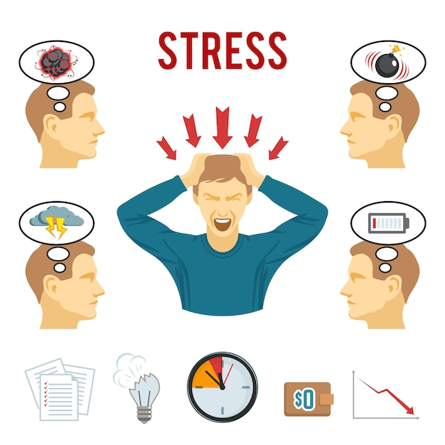 Mental disorder and stress icons set Free Vector