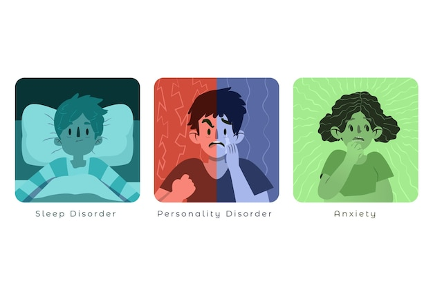 Mental disorders collection Free Vector