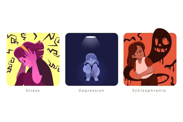 Mental disorders illustrated collection Free Vector