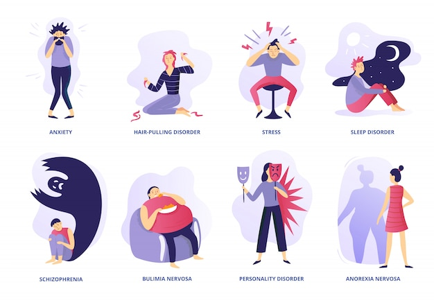 Mental disorders. psychic illness, people psychotherapy and psychiatric problems. mentality disorder vector illustration set Premium Vector