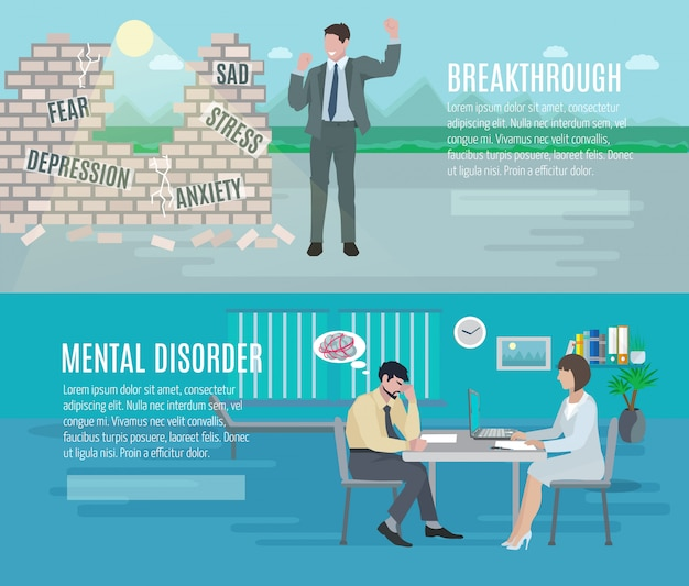 Mental health anxiety disorder breakthrough with psychiatrist counseling Free Vector