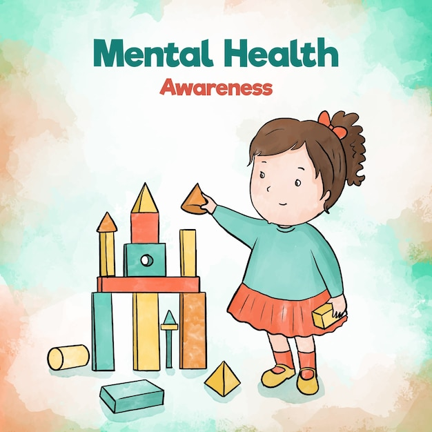 Mental health awareness child girl building with toys Free Vector