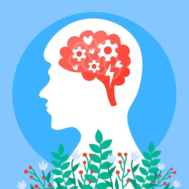 Концепция осведомленности о психическом здоровье и цветы Premium векторы