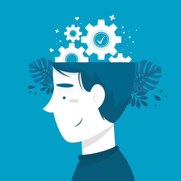 Mental health awareness concept with gear wheels Free Vector