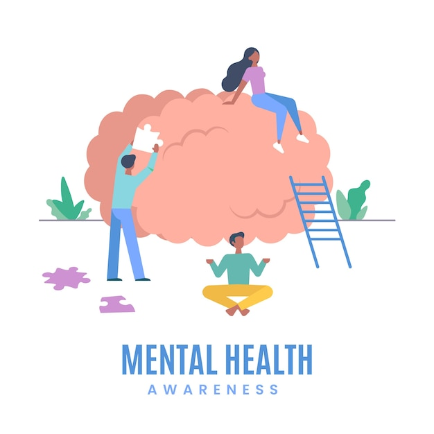 Концепция осведомленности о психическом здоровье Бесплатные векторы