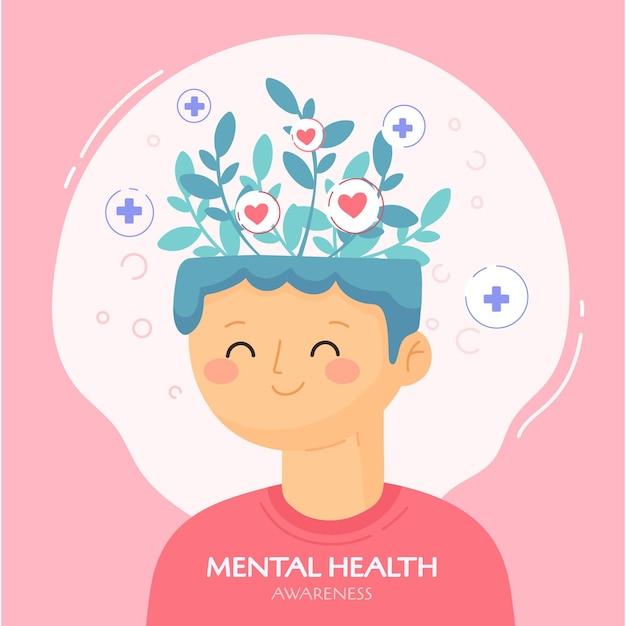 メンタルヘルス意識のコンセプト 無料ベクター