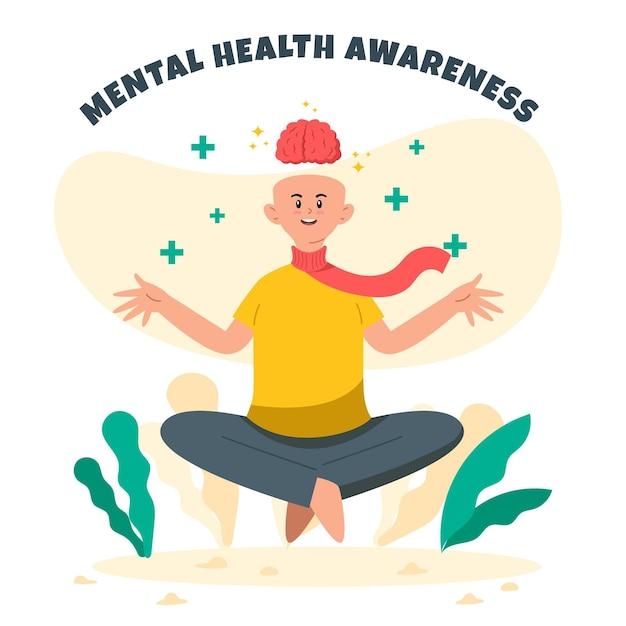 Осознание психического здоровья расслабиться и медитировать Бесплатные векторы