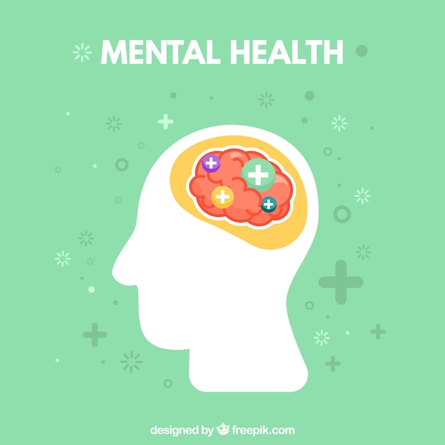 Mental health composition with flat design Free Vector
