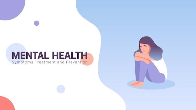 Mental Health Concept Banner Vector Illustration Premium Vector