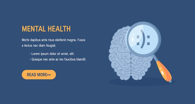 Mental health concept . horizontal  with a human brain and a magnifying glass Premium Vector