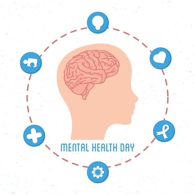 Mental health day card with brain in head profile human and set icons Premium Vector