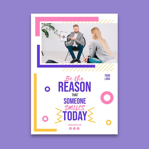Mental health flyer template Free Vector