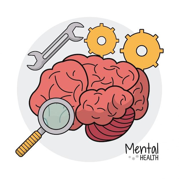 Mental health gear search image Premium Vector