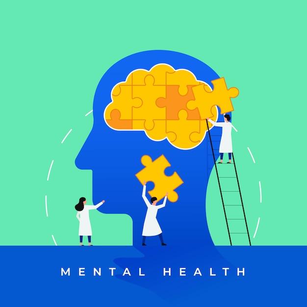 Mental health medical treatment illustration Premium Vector