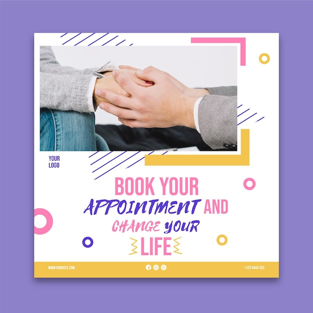 Mental health square flyer template Free Vector