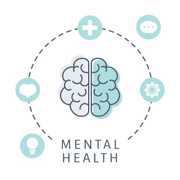 Психическое здоровье, понимание вектора мозга Бесплатные векторы