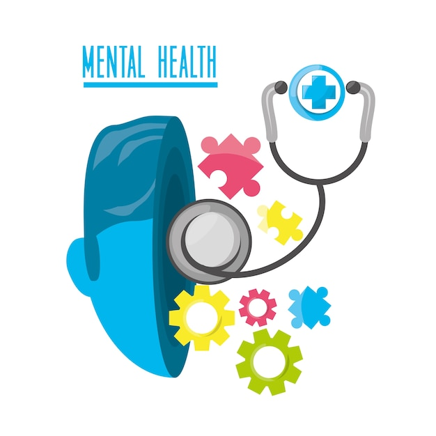 Mental Healthy With Stethoscope And Hospital Symbol Vector Premium